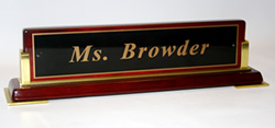 Rosewood Nameplate with Gold Accents